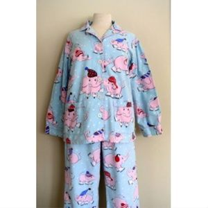 Nick & Nora Pink Elephants Blue Flannel Pajamas